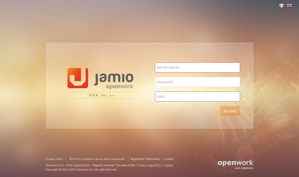 Interfaccia di Jamio on stage